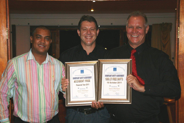 Daan Meintjies, Newrak Mine overseer at Lonmin Marikana (K4B/1B), received two awards for significant safety achievements.